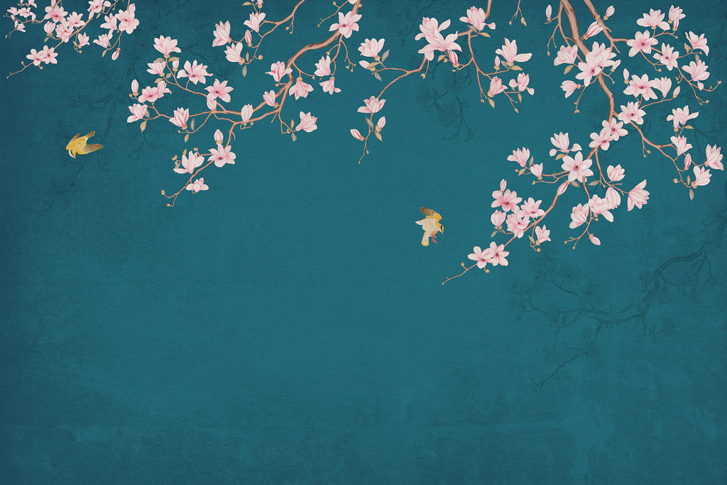 新中式手绘玉兰花电视背景墙装饰画