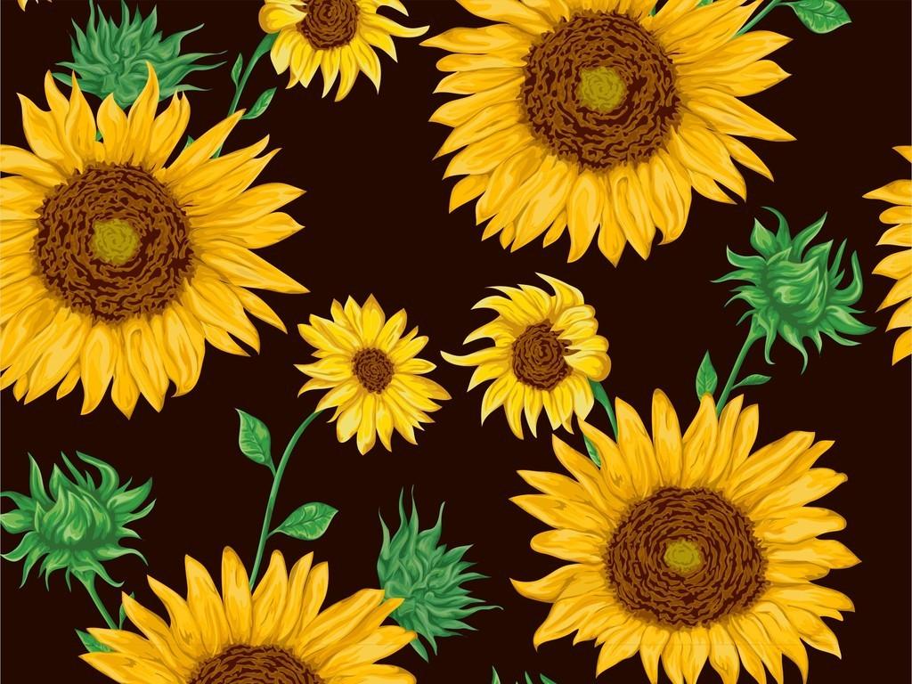 植物花卉树叶印花向日葵图案