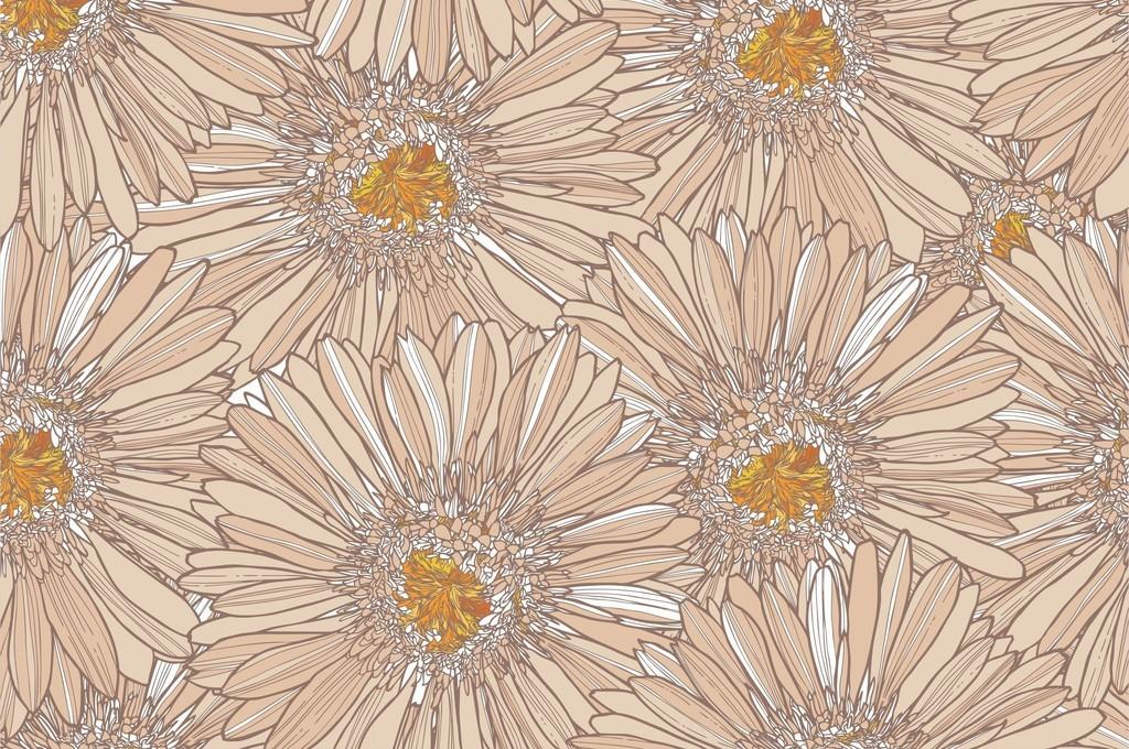 手绘波斯菊图案植物花卉印花复古面料源文件