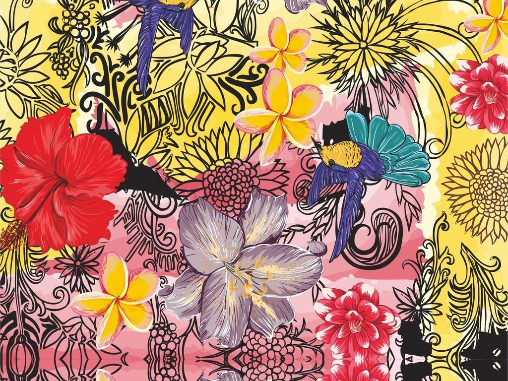 ai)植物花卉ai卡通动物鸟图案ai面料时尚印花ai文件布匹家纺印花服装