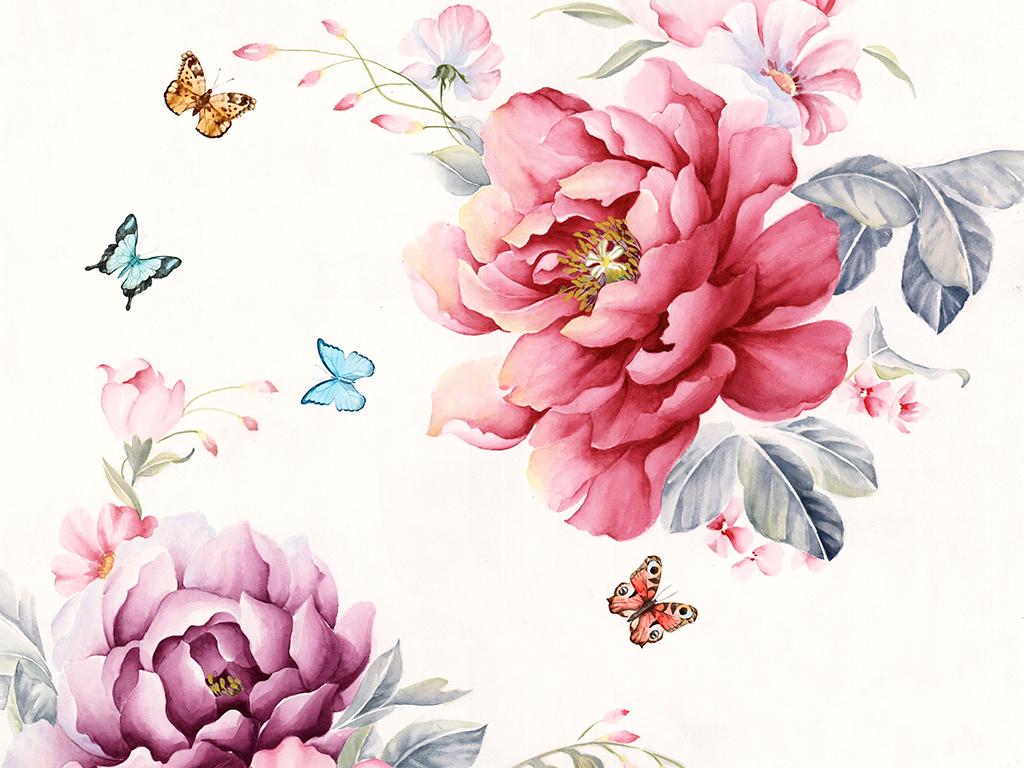 手绘唯美水彩花卉蝴蝶花鸟无框画装饰画