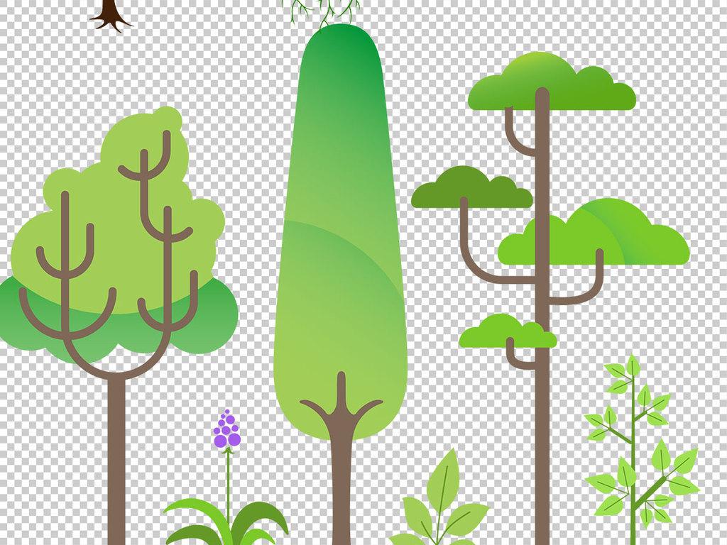 卡通植物小树卡通手绘风格树创意