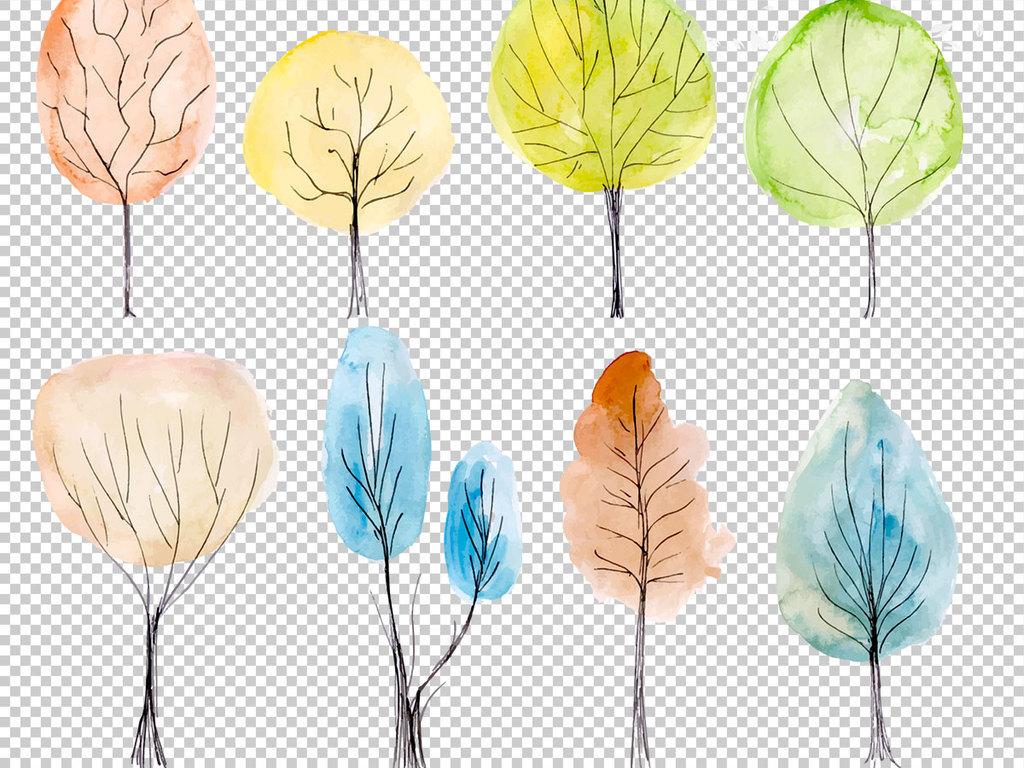 剪影可爱树树叶icon图标logo通人物卡通背景水彩风格大树水彩大树水彩