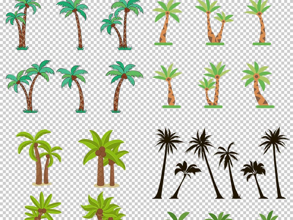 夏天椰树png棕榈树热带树木椰子树手绘素材棕榈树手绘插图透明png素材