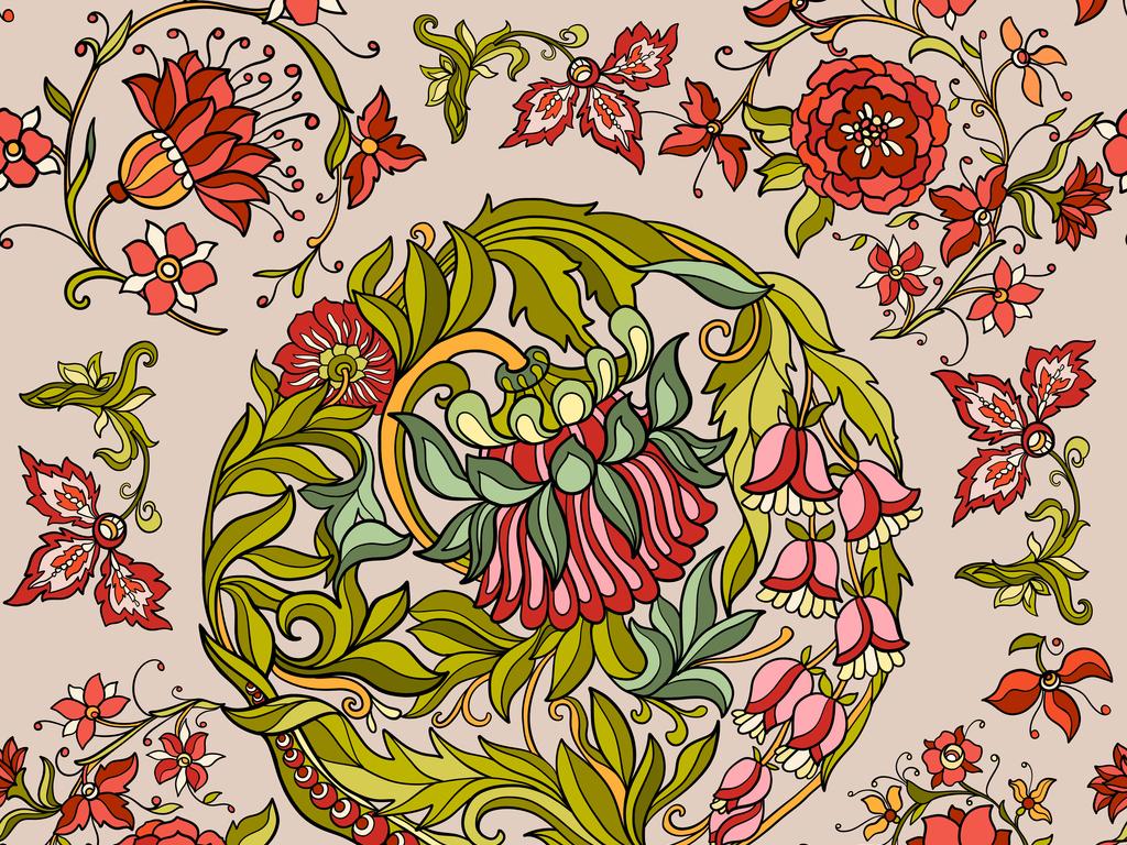 图案民俗风民族风格图案抽象几何花纹边框花卉植物植物花卉花卉植物ai