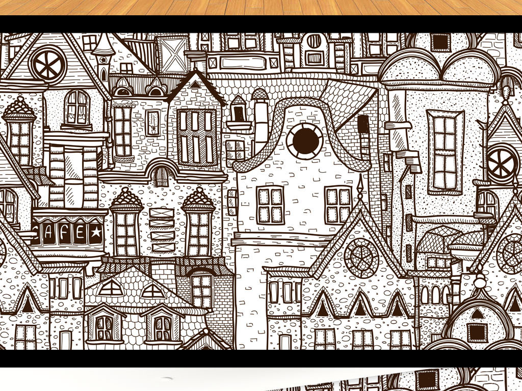 背景墙|装饰画 电视背景墙 手绘电视背景墙 > 手绘线描艺术古建筑电视图片