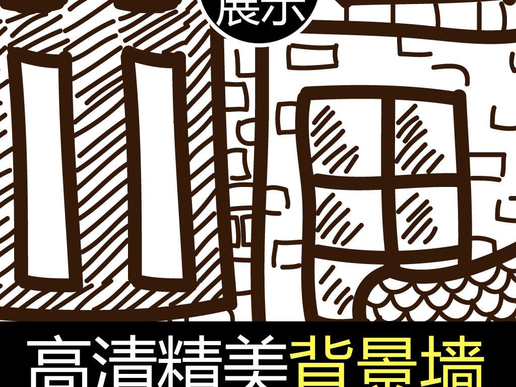手绘线描艺术古建筑电视背景墙