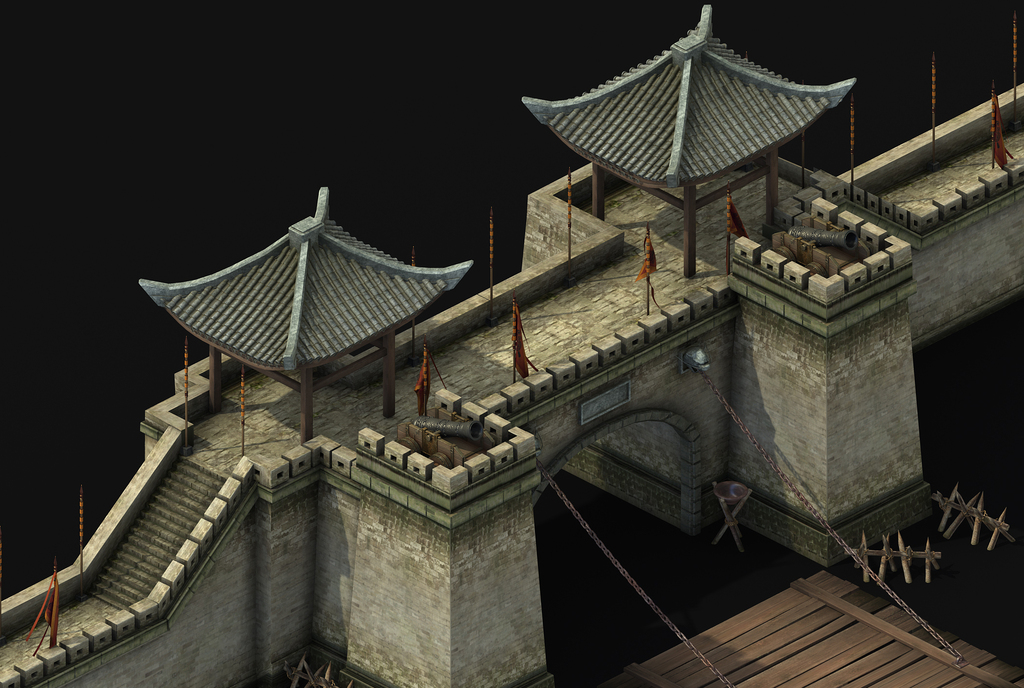 军事建筑模型城门城墙吊桥战壕军旗瞭望塔(图片编号:)