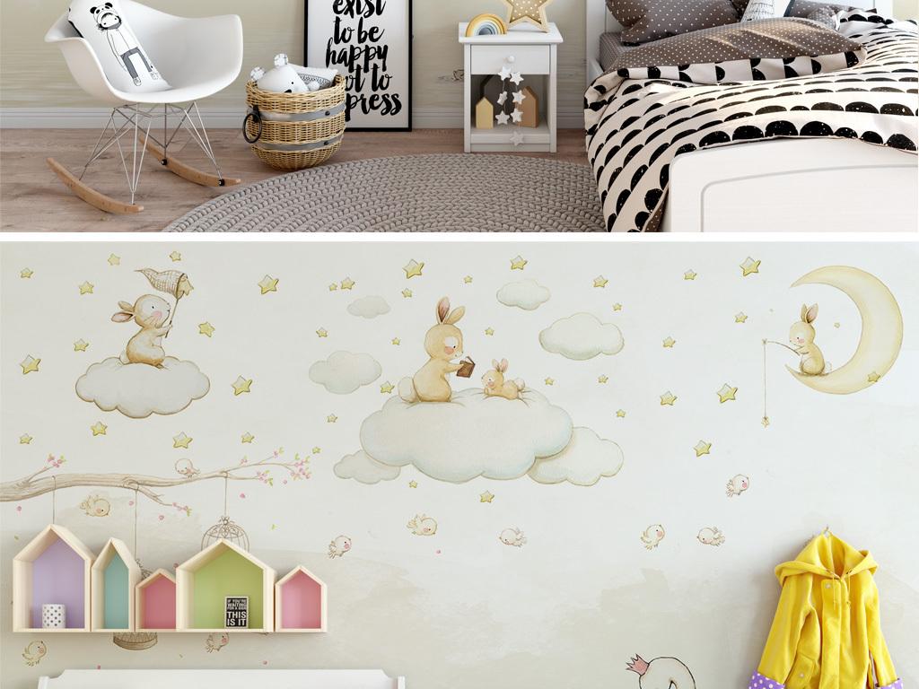 北欧简约卡通月亮兔子儿童房屋背景墙