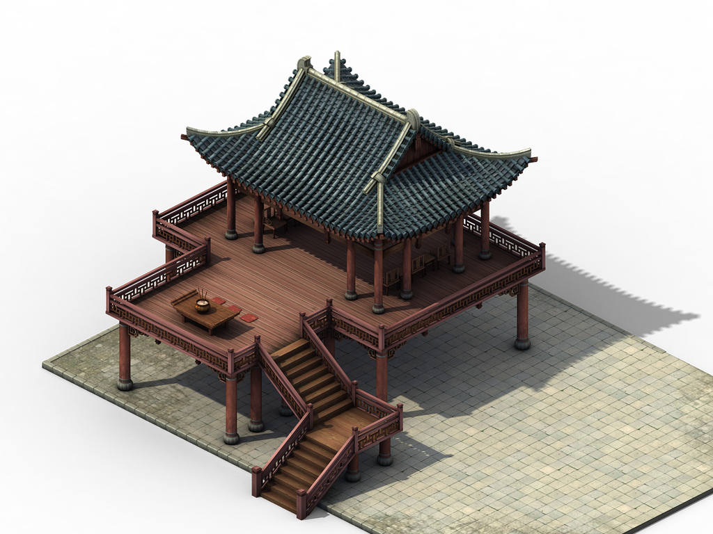 3d古代建筑模型祭坛燕台木板瓦顶房屋