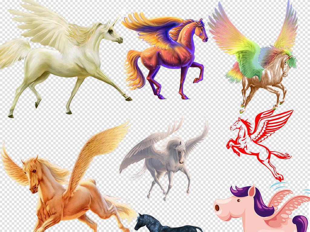 手绘欧式独角兽天马飞马动物素材