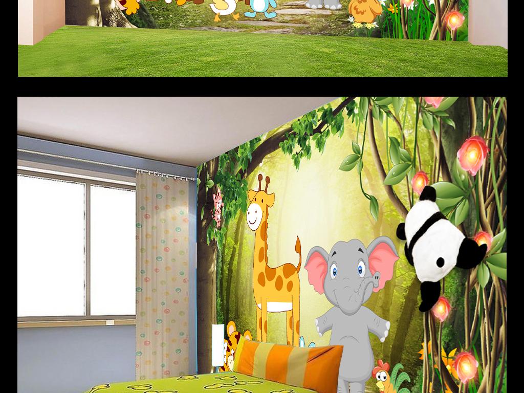 梦幻森林动物乐园卡通儿童房背景墙