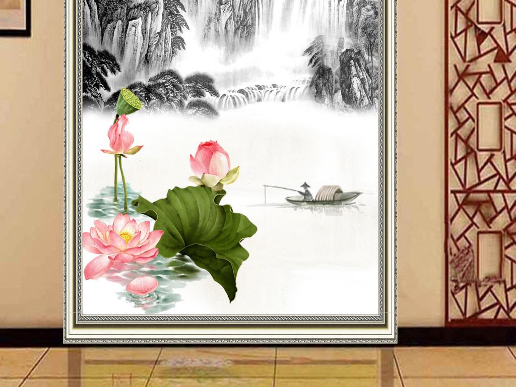 新中式装饰画玄关壁画过道壁画江山如画壁画图片