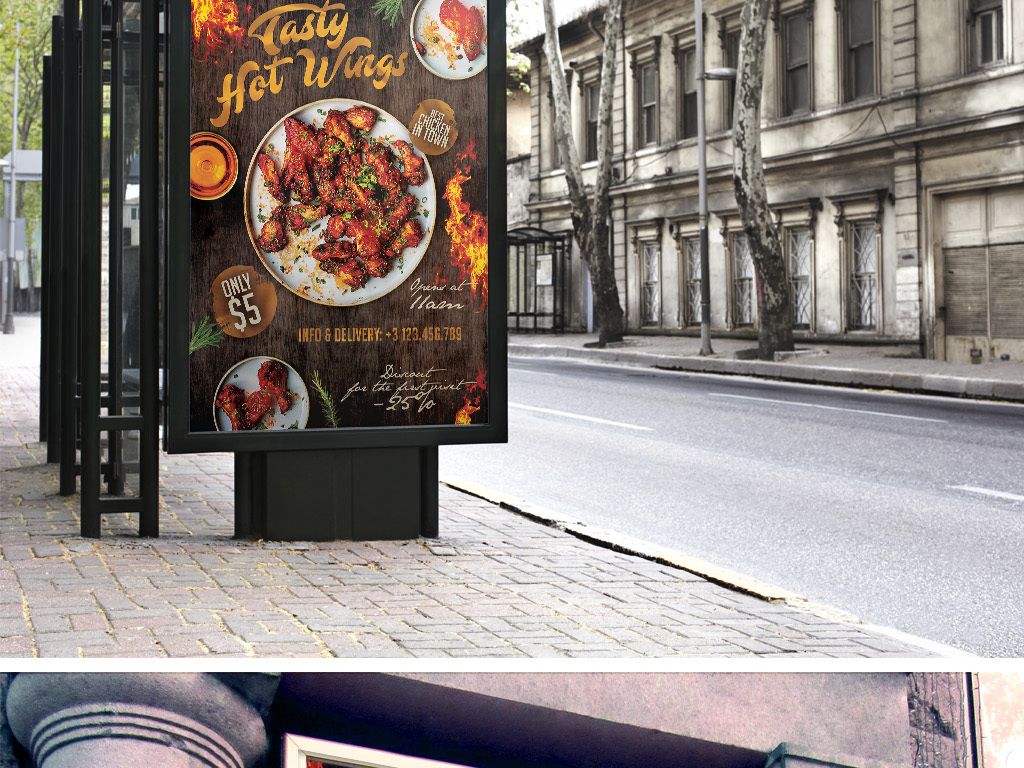 平面|广告设计 海报设计 国外创意海报 > 火爆炸鸡鸡翅餐饮美食促销