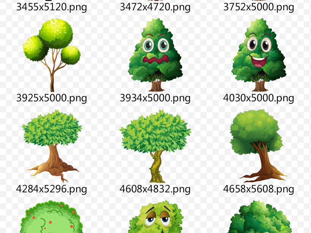 景观卡通大树植物素材表情许愿树手绘树香蕉树抽象树成长树树简笔画