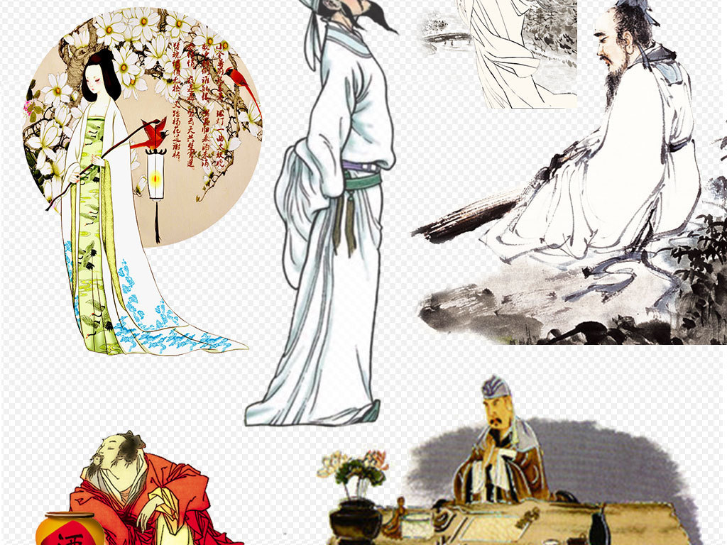 卡通手绘古代古人读书诗人背景素材下载
