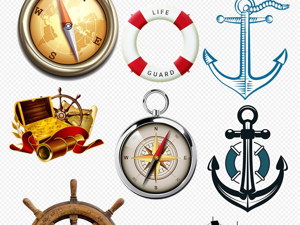 手绘航海帆船船舵复古风格素材
