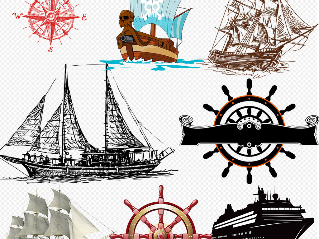 灯塔手绘灯塔铃铛漂流瓶轮船大船船锚方向控制罗盘