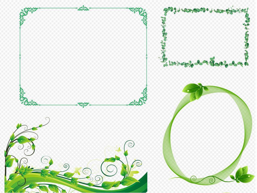 卡通手绘可爱绿色小清新风格花纹边框背景(图片编号:)