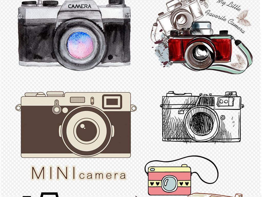 卡通手绘创意单反相机png素材下载