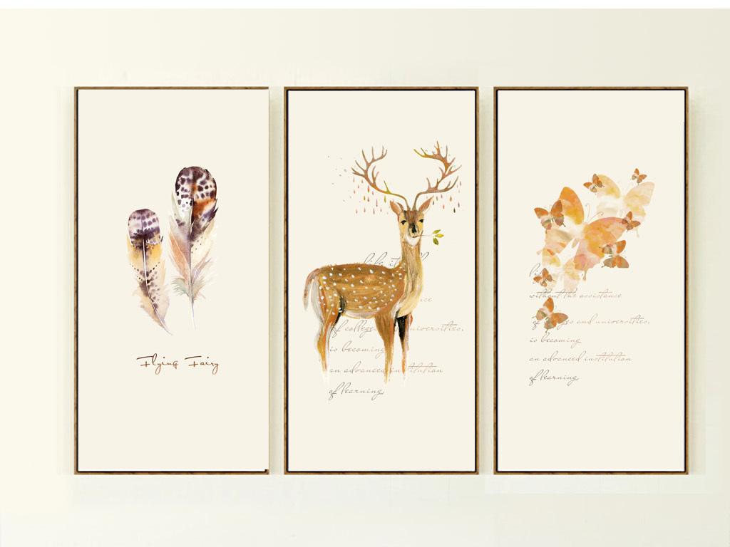 psd北欧三联麋鹿森林手绘北欧抽象装饰画