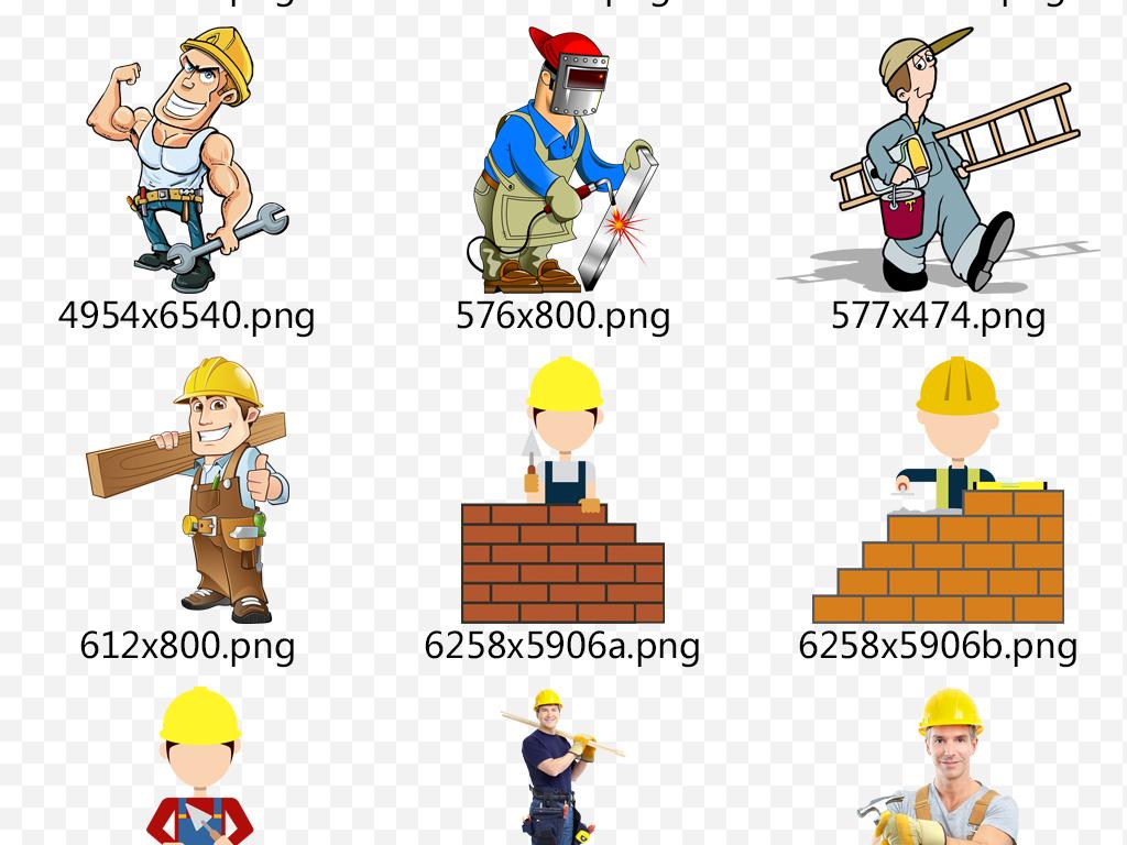 卡通矢量装修工人装修工具人物素材下载