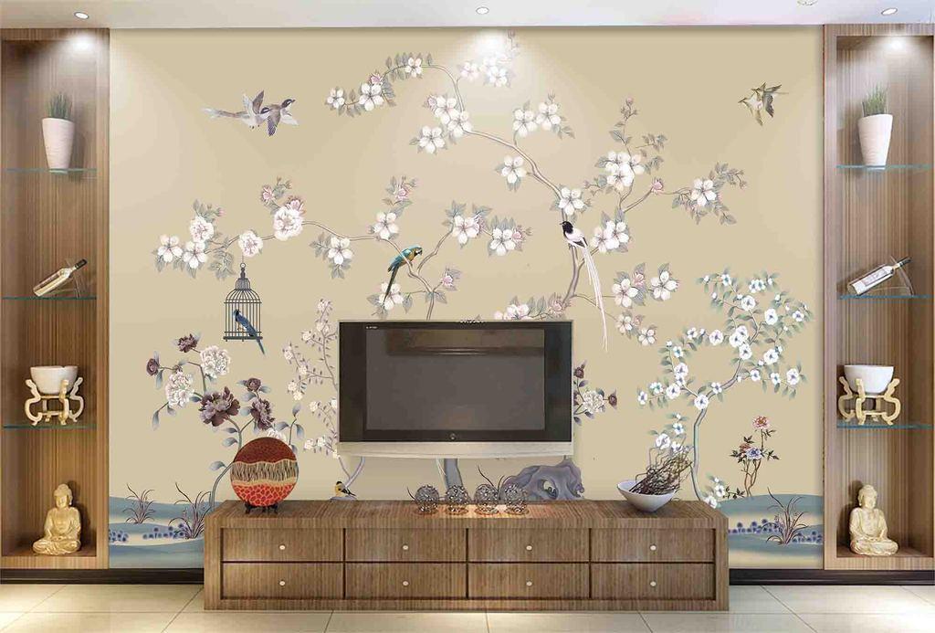 手绘新中式梅花工笔画花鸟壁画软包装饰画