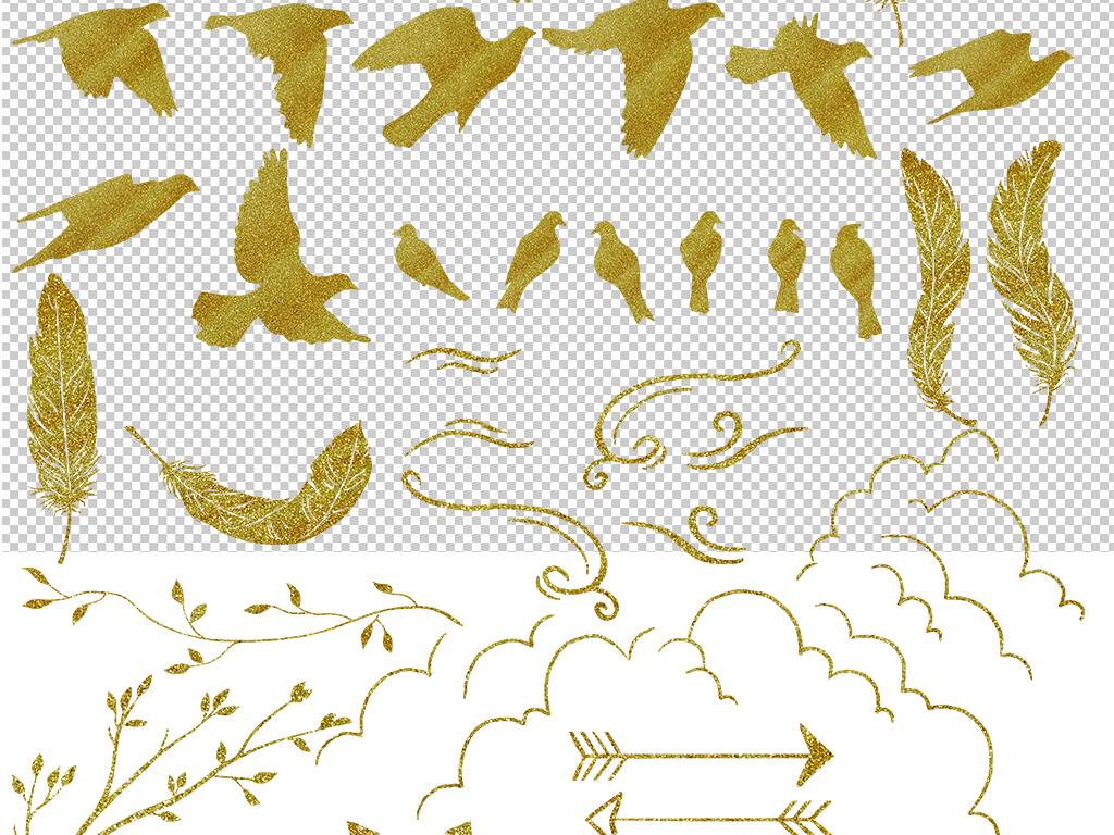 水彩野生动物剪影