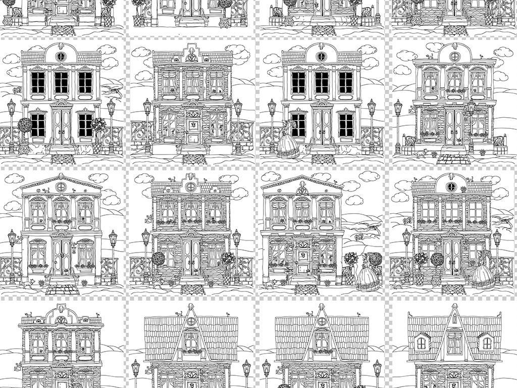 房子城堡复古底纹欧美复古欧式复古手绘背景线条素材城市复古背景手绘