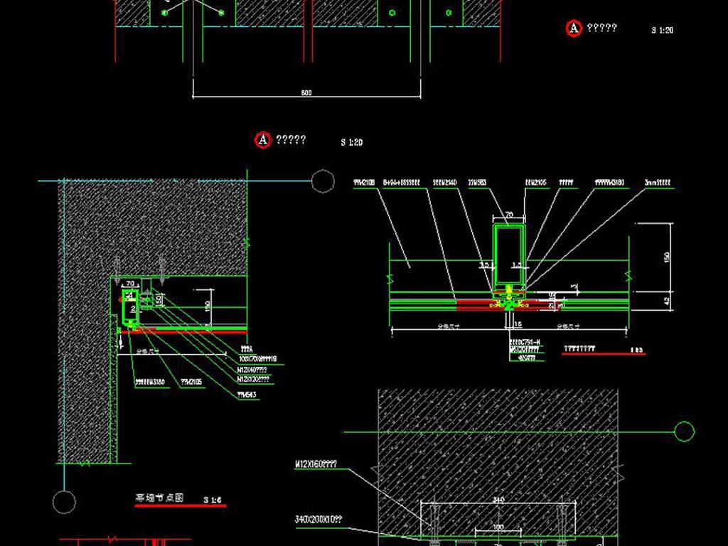 CAD吊顶轻钢龙骨施工图剖面玻璃幕墙节点