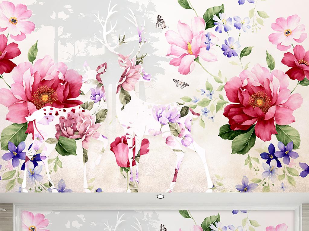 手绘水彩花卉麋鹿纸沙发壁画背景墙