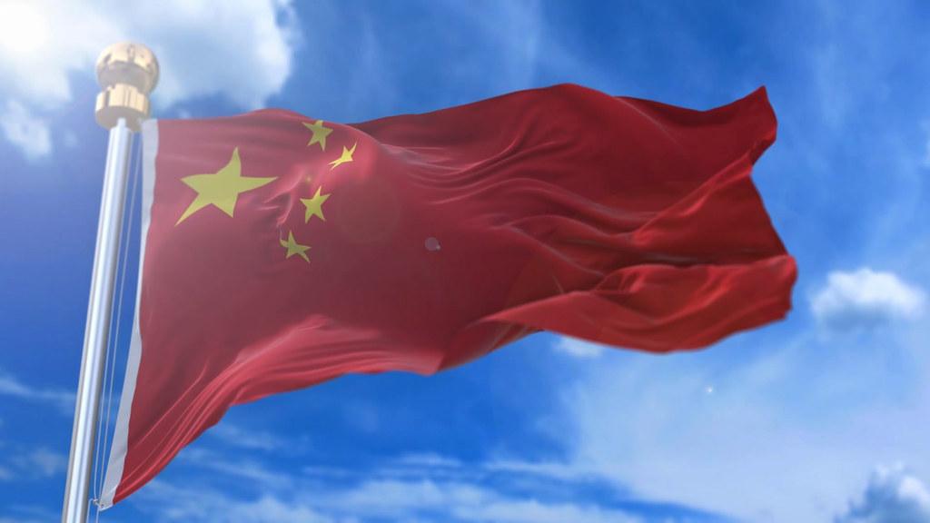 中国国旗飘扬