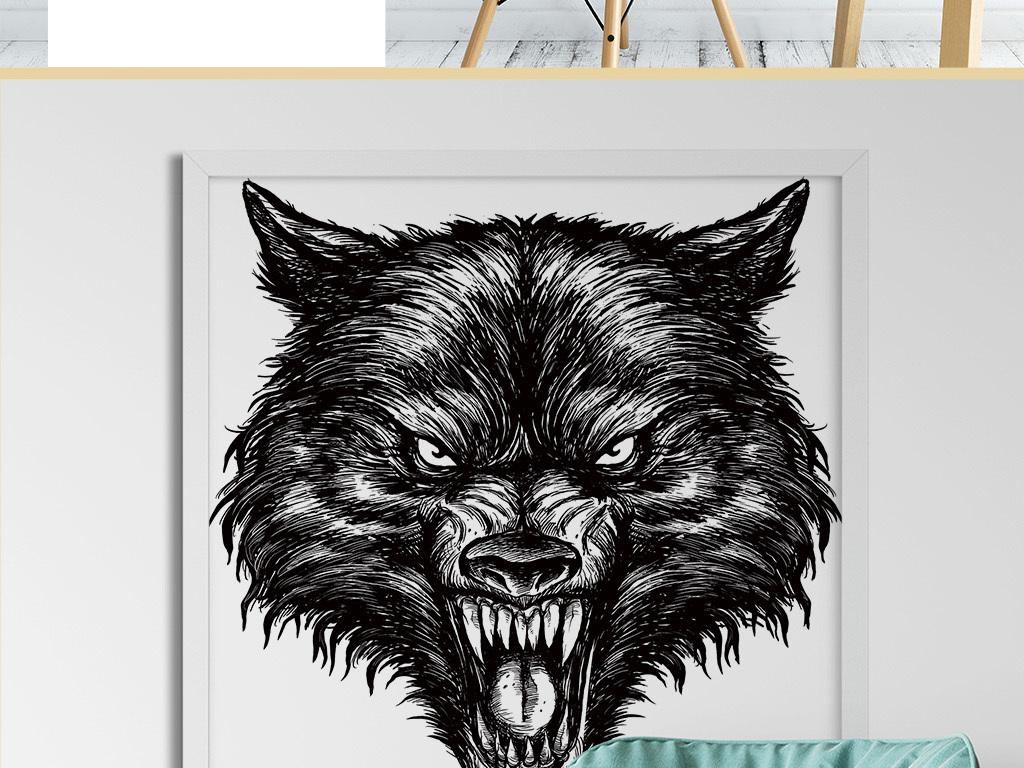 恐怖狼群动物素描抽象手绘图案无框装饰画