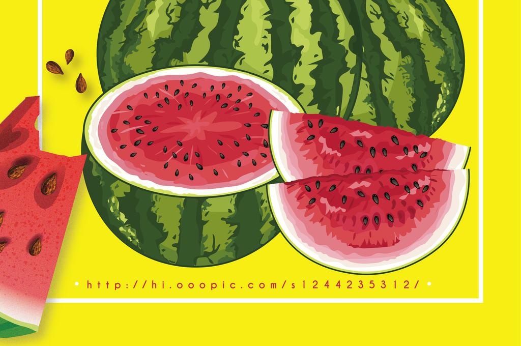创意手绘水果店新鲜西瓜促销海报矢量展板