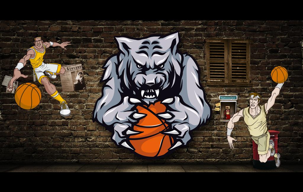 3d怀旧动漫手绘篮球虎头工装背景墙