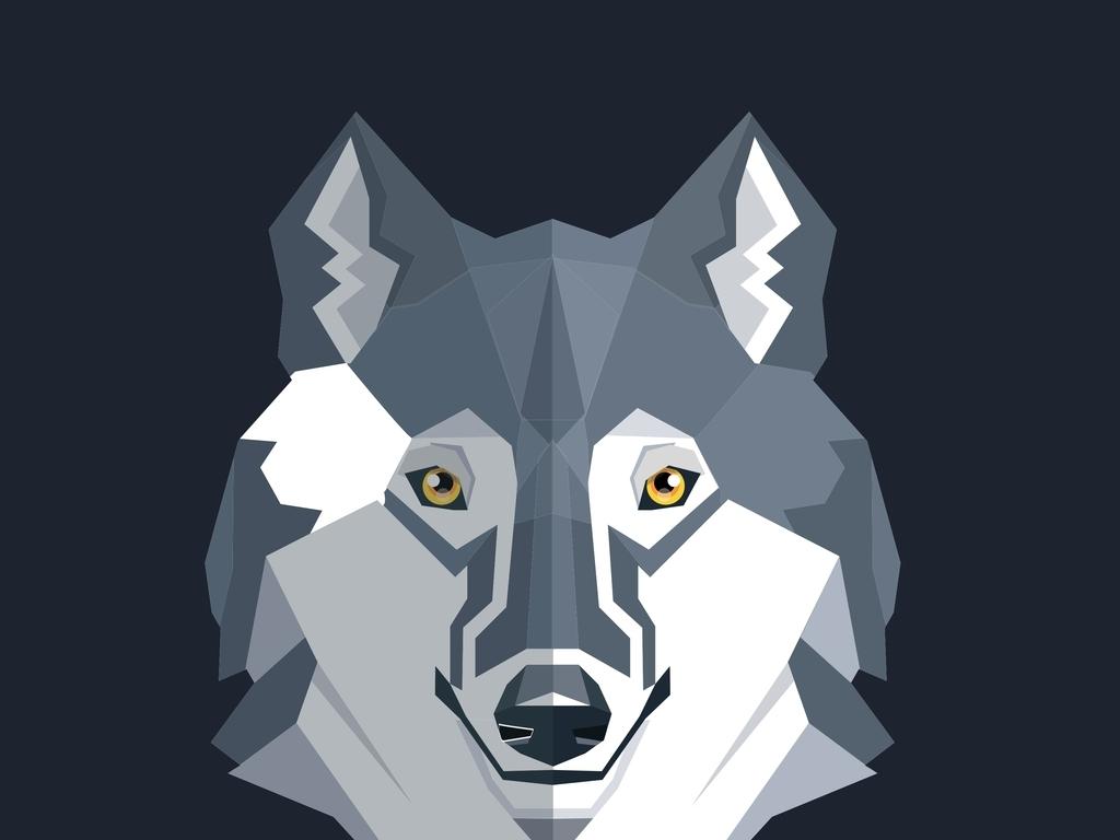 抱枕图案无框画素材北欧风装饰画狼抽象动物