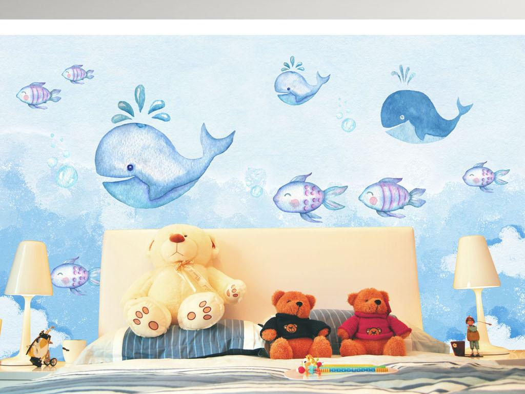 早教儿童房手绘卡通鲸鱼蓝天白云背景墙墙纸