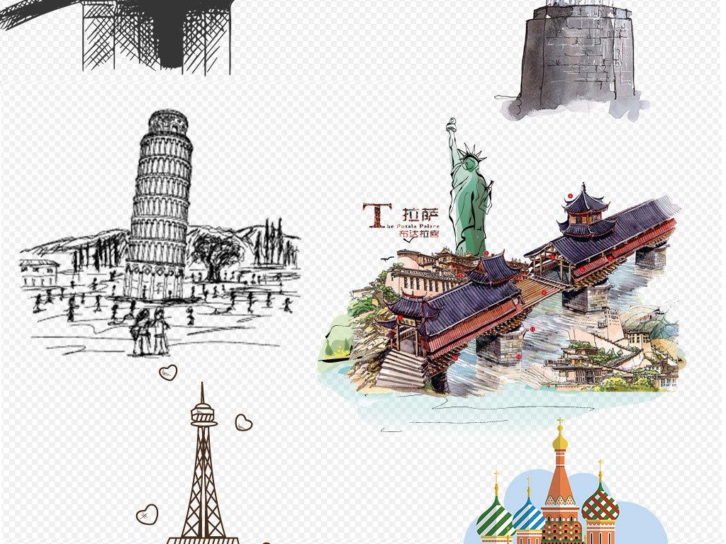 手绘画大城市剪影彩色水彩线条图描绘卡通城市建筑美国上海香港卡通