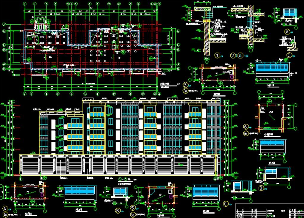 平面图住宅楼施工图住宅小区建筑施工图cad衣柜设计图住宅设计cad办公