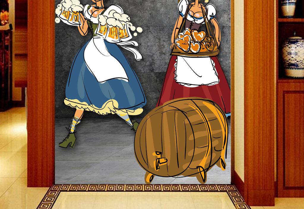 手绘复古3d饭店啤酒工装玄关