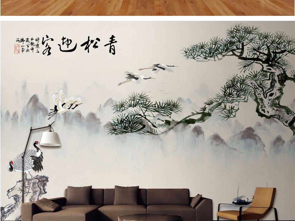 背景墙|装饰画 电视背景墙 中式电视背景墙 > 新中式手绘工笔山水青松