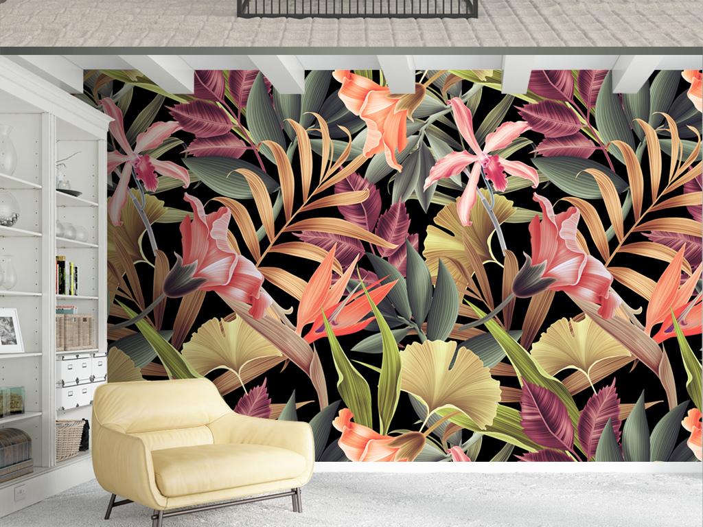 北欧风格热带植物现代简约背景墙图片