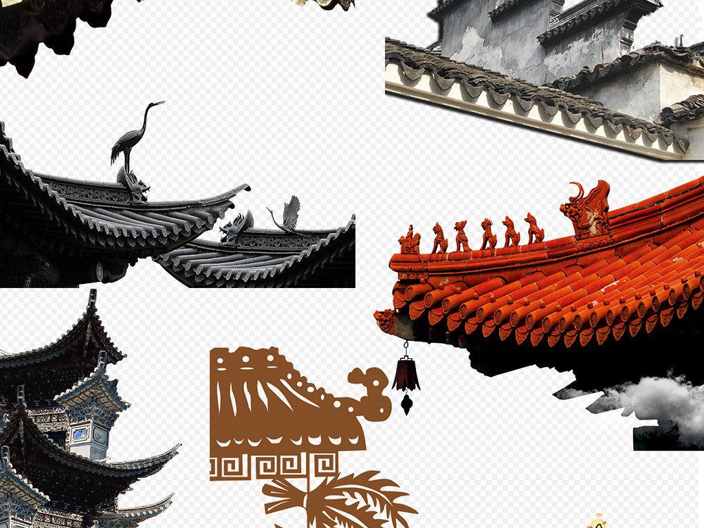 中国风建筑屋顶屋檐古代建筑瓦房素材下载