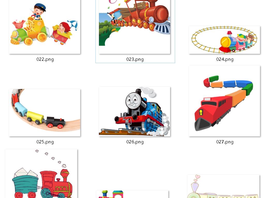 孩子小火车玩具彩绘小火车彩绘小火车png卡通的交通工具手绘