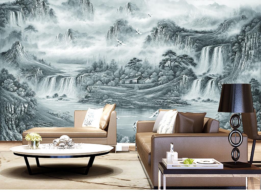 新中式意山水风水聚宝盆电视背景墙
