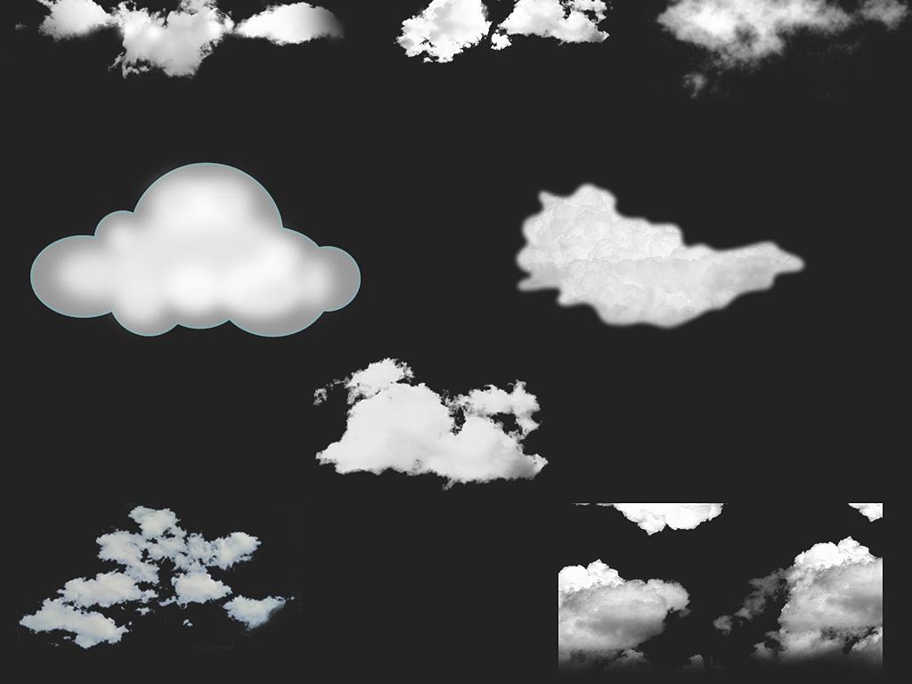 卡通白色云朵海报png素材图片
