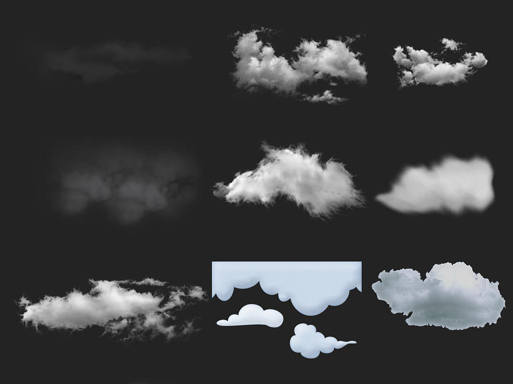 卡通白色云朵海报png素材