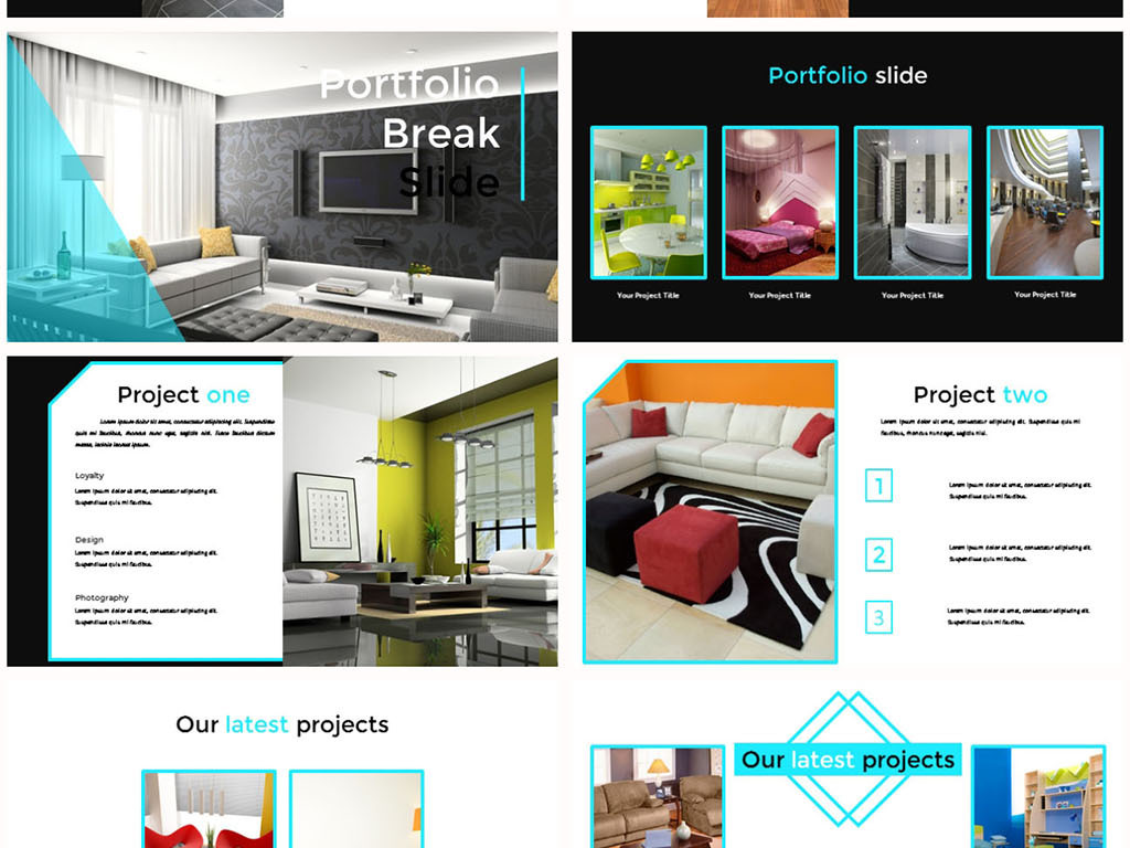 简洁时尚室内装修设计图文排版ppt模板图片