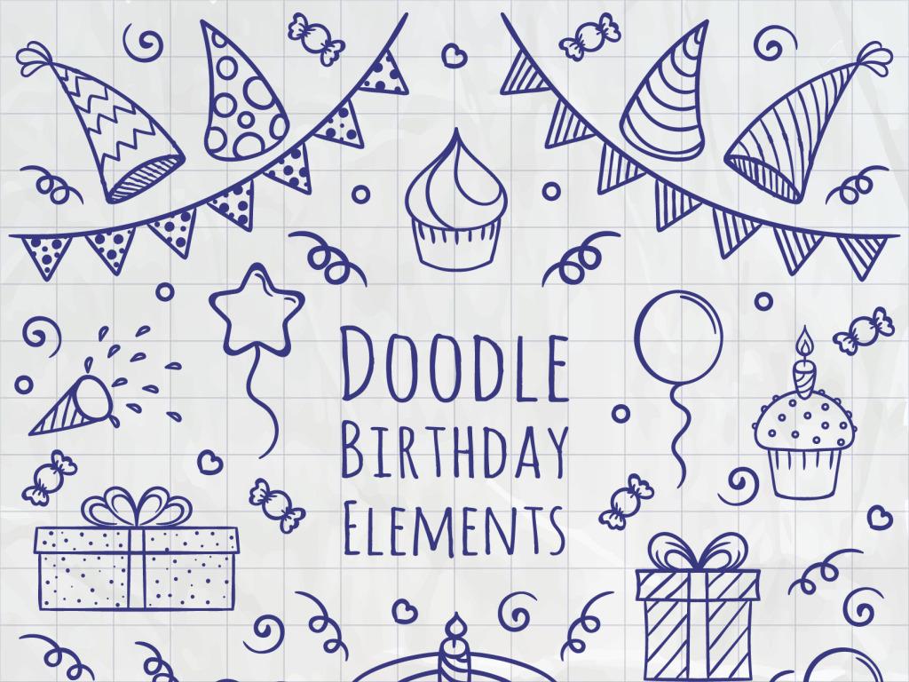 手绘涂鸦线条生日庆祝元素