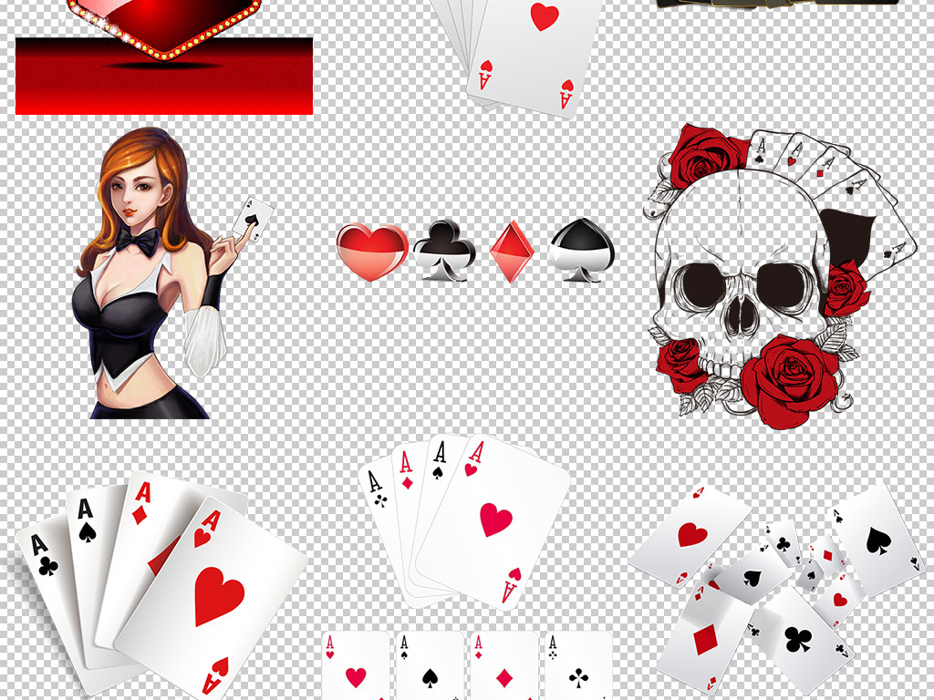 赌场牌九扑克纸牌花色素材